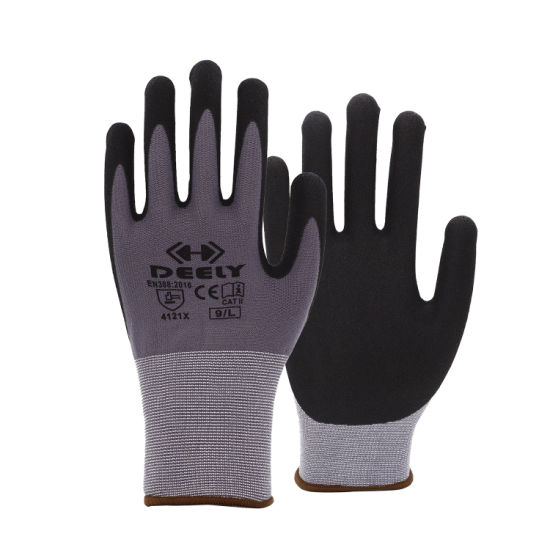Seamless Knitted 15 Gauge Grey/Red Nylon Spandex Liner Sandy Nitrile Palm Coated Gloves