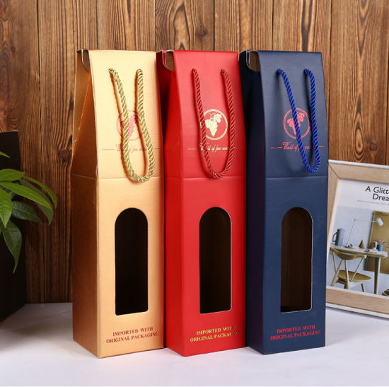 Yellow Kraft Paper Corrugated Window Hollow Wine Packaging Paper Gift Box or Bag pictures & photos