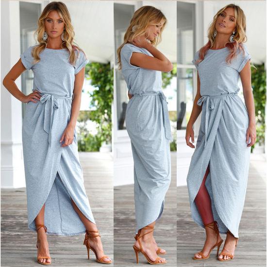 cb915bd4cc1 Women Dress Round Collar Asymmetric Short Sleeve Pleated Tunic Dress  (18116) pictures   photos