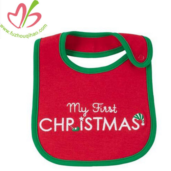 China Christmas Design Customized Baby Feeding Bibs Burp With Letter