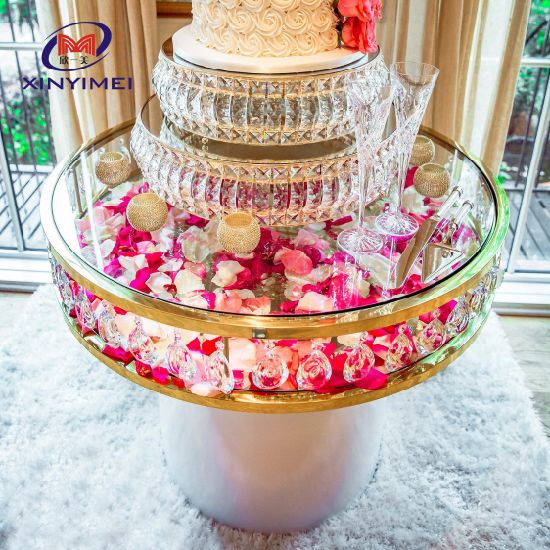 China Hot Sale Wedding Event Party Round Stainless Steel Frame Crystal Cake Table China Stainless Steel Cake Table Round Stainless Steel Cake Table