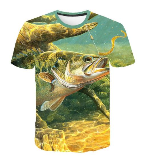 Wholesale Summer Man Shirts Fishing Clothing Short Sleeve Sports Wear 3D Printed Fashion Shirts Apparel Breathable Round Neck Clothes