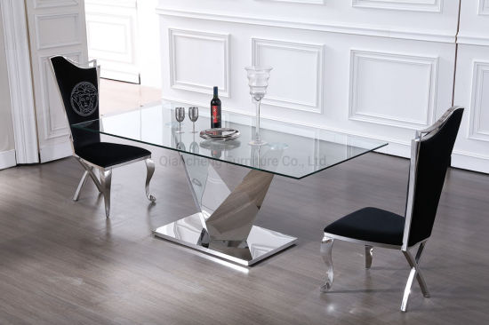 Living Room Furniture Glass Top Dining Table with V Shape ...