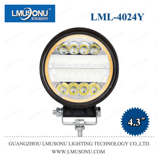 Lmusonu New 4024y 4.3 Inch 72W Round LED Work Lights with Diaphragm/Aperture/Halo/Ring White Yellow Colors