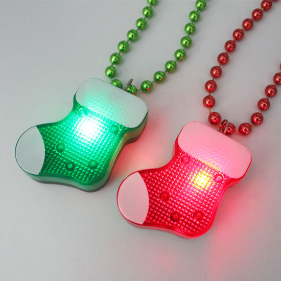 Christmas Light up Flashing LED Christmas Stocking Beaded Necklace pictures & photos