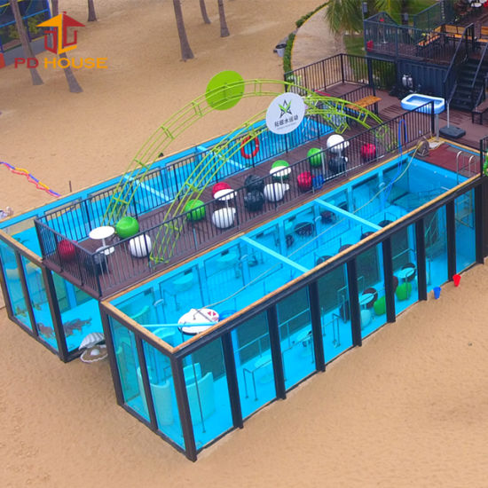 Artificial Steel Structure Swimming Pool Shipping Container Swimming Pool  Surfable Pool