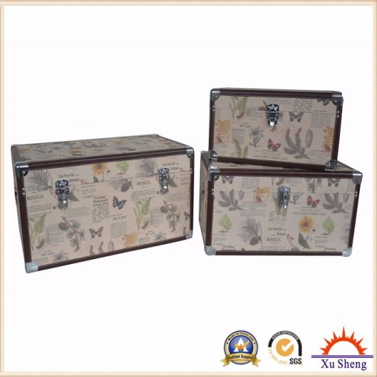 Home Furniture Canvas Print Wooden Storage Box Set of 2 pictures & photos
