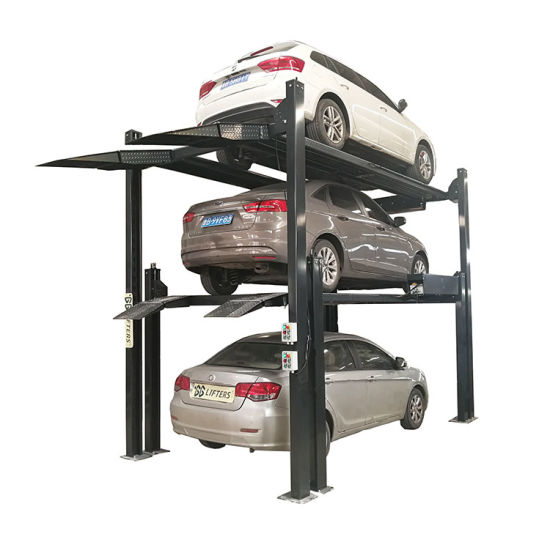 CE direct factory automatic 4 post triple stack parking system for car storage