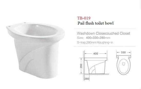 019 White Washdown S Trap Ceramic Pail Flush Toilet Bowl for Phillippine Market