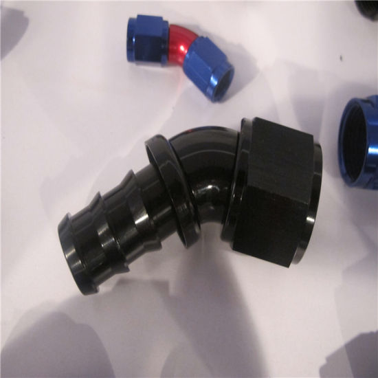 Oil Fuel Water AN4-4 4AN 90 Degree Braided Hose Fitting JIC Red // Blue