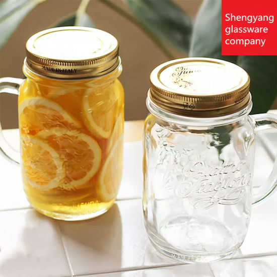 Food Grade 16oz Embossment Glass Drinking Glass with Handle and Metal Lid pictures & photos