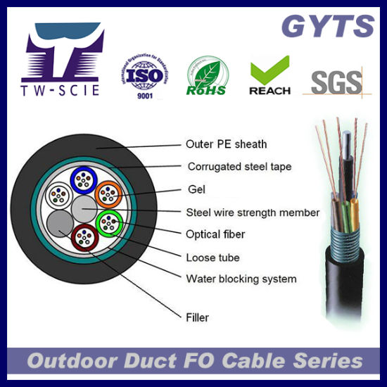 Fiber Optical 4-144 Core Anti Robent 216 Core Armoured Duct High Quality Fiber Optic Cable (GYTS) pictures & photos