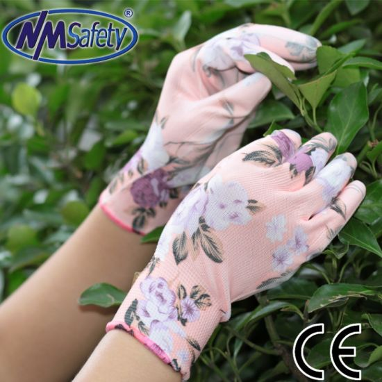 Nmsafety Polyester Liner PU Coating Garden Gloves