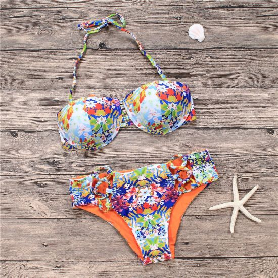 9bd45baf3abe3 Padded Two Piece Tankinis Printed Floral Bikini Set Swimsuit pictures &  photos