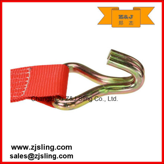 "4"" Double J-Hooks Ratchet Strap 4"" X 60′ Red pictures & photos"