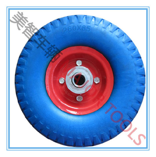 260X85 Flat Free Blue PU Foam Wheel for Garden Tool Carts pictures & photos