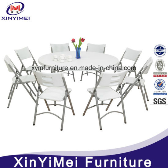 4 x Folding Chairs in White Blow Mold Plastic Garden Bistro Banquet BBQ Party