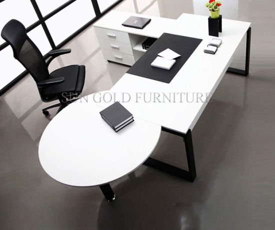 e2da2935b355 Modern White Simple High Quality Manager Executive with Vice Round Table  Office Desk (SZ-OD330)