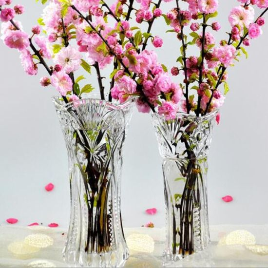 China Wholesale Cheap Tall Clear Crystal Glass Flower Vase For Home
