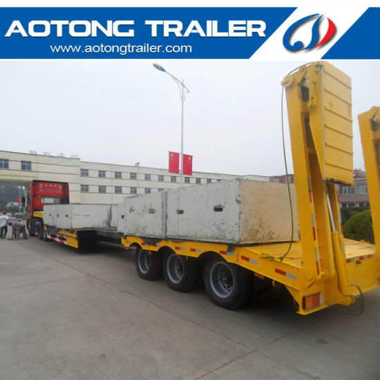 Tri- Axle Lowbed Semi Trailer, 50 Tons Low Flatbed Trailer pictures & photos
