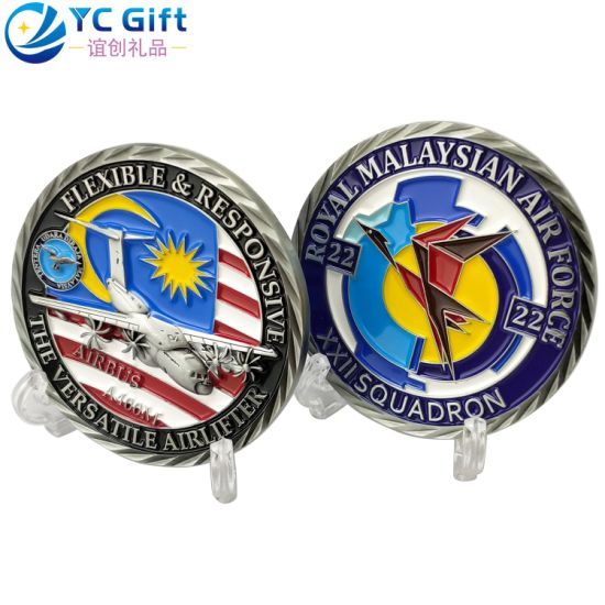 Factory Custom Metal Art Crafts Police Military Aircraft Model Challenge Coin Malaysia Air Force Awards Souvenir Coins Corporate Gift Silver Plastic Token Coins