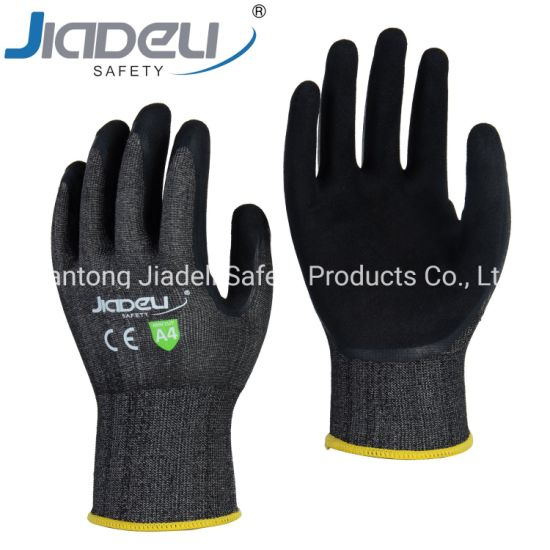 BSCI Certified Manufacturer Custom Logo Personal Hands Safety 18 Gauge Cut Resistant C Work Gloves with Sandy Latex (LDS6575)