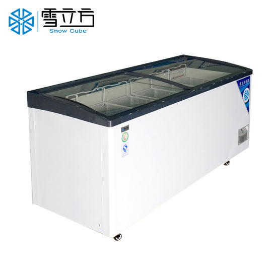 Frozen Fish Import Freezer of Plug-in Island Cabinet Used as Refrigerated Showcase