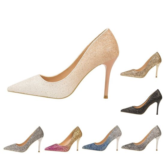 Fashion Glitter Gradual Change Color Low-Cut Upper Narrow Heeled Women Wedding Shoes