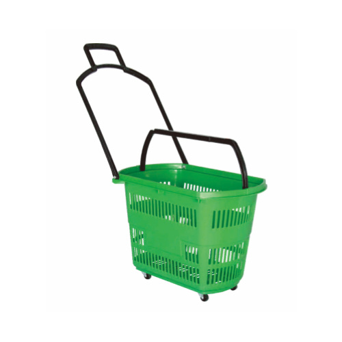 Small Four Wheels Trolley Plastic Basket pictures & photos