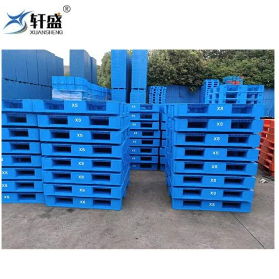 High Quality HDPE Material 1200*1000mm Solid Surface Plastic Pallet with 8 Steel Bars