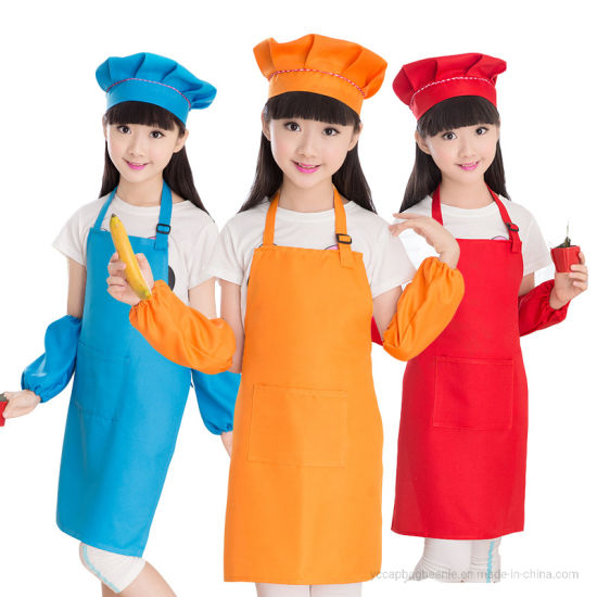 Wholesale 100%Polyester Promotion Children Kids Drawing Painting Blank Apron