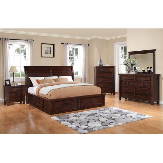 Custom Made Commercial Hotel Bedroom Furniture with Wooden Bed