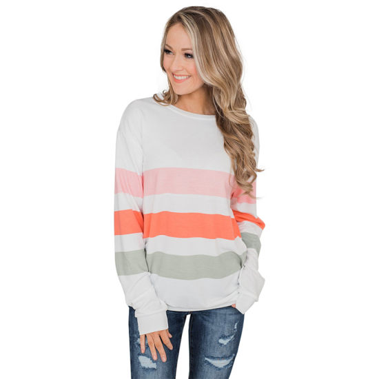 New Arrive Women White Dreaming of Spring Striped Pullover Top Sweatshirt