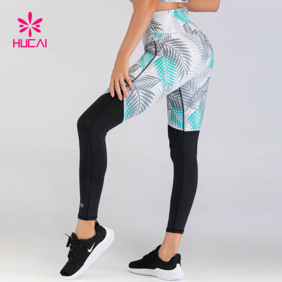 Custom Recycle Polyester Spandex Female Digital Printing Yoga Pants