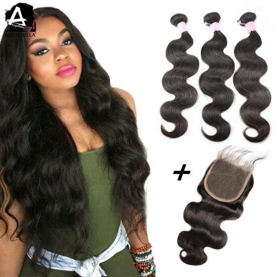 Angelbella Indian Human Hair Weaving with Natural Black 5X5 Closures