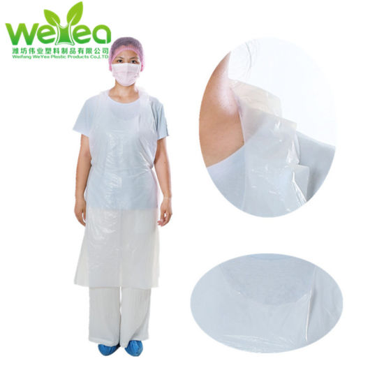 Disposable Aprons on Roll White Aprons Blue Apron High Density Polythene 1000 Aprons, White