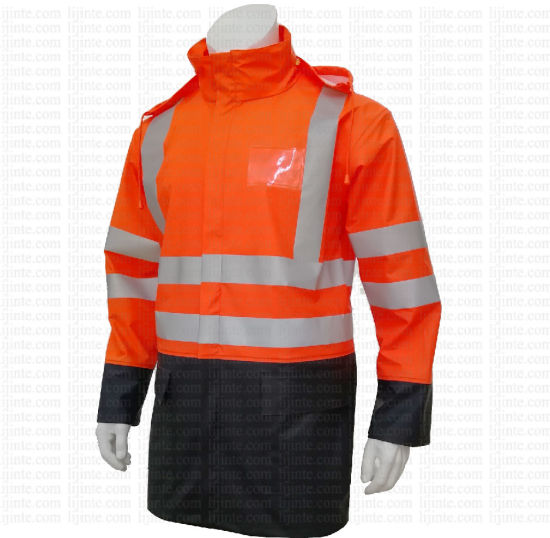 Waterproof High Visibility PU Safety Jacket Workwear with Reflective Tape