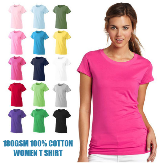 180GSM 100% Cotton Customized Logo Printed Blank Tshirts Wholesale Plain Women T Shirt