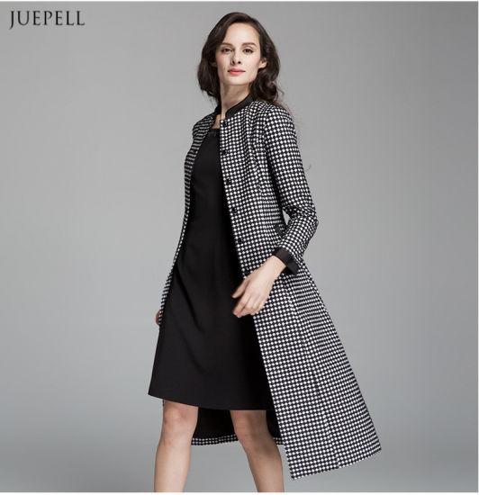 European Fashion DOT Print Women Long Coat for Winter