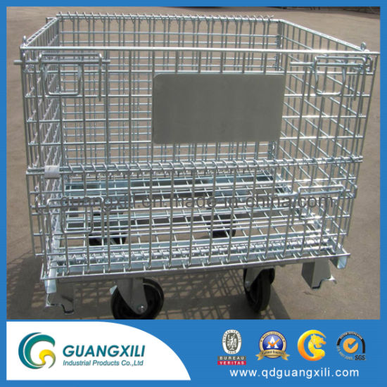 Steel Wire Pallet Storage Container Cage for Warehouse Storage with Wheels