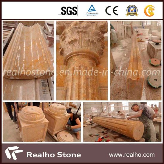 Imperial Gold Marble Pillar/Column for Five-Star Hotel Project Construction