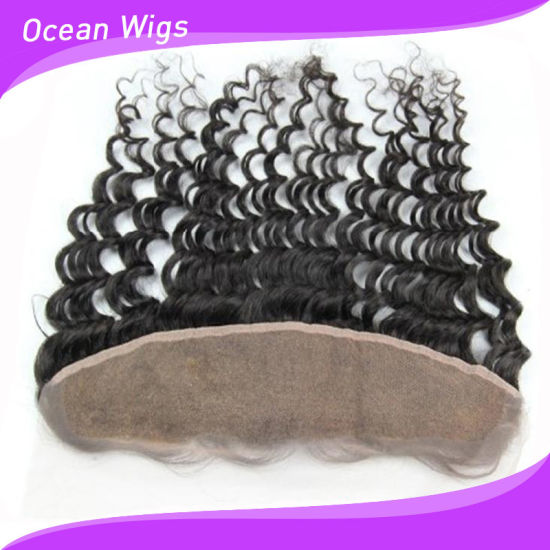 8A Brazilian Virgin Hair Deep Wave Full Lace Frontal Closure Bleached Knots 13X4 Virgin Human Hair Ear to Ear Lace Frontal with Baby Hair (F-006) pictures & photos