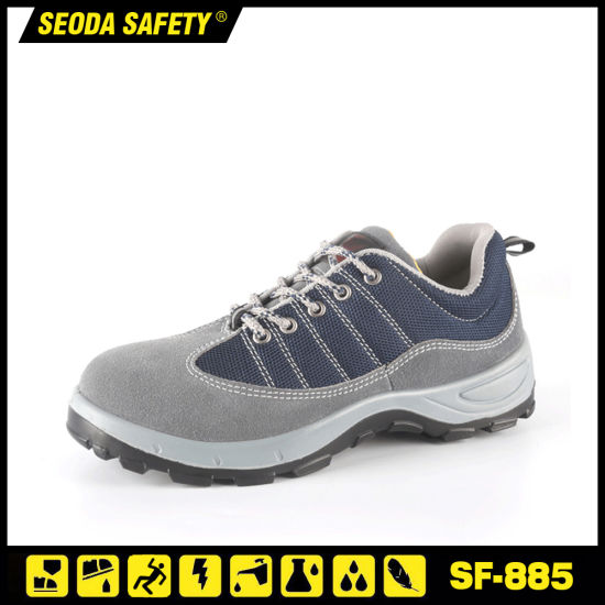 Breathable Suede Leather Safety Work Shoes with Bk Mesh Upper