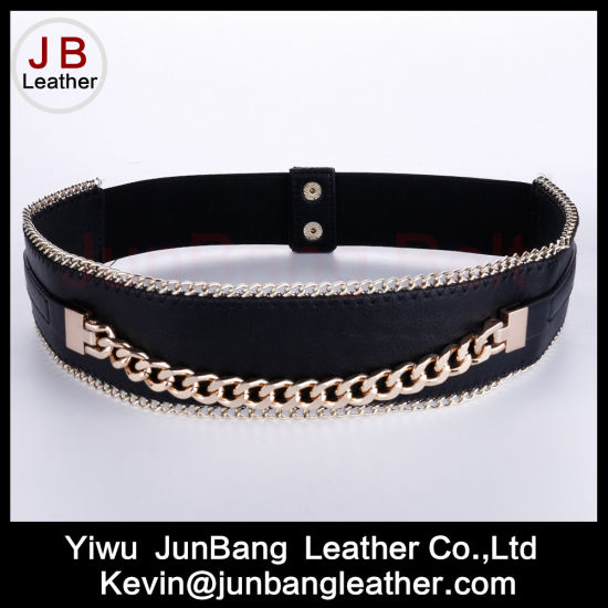 Fashion Women's Metal Elastic Belt with Chain Edge