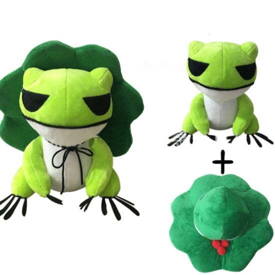 Kawaii Plush Doll Toys Traveling Frog Two Dimensions Cure Throw Pillow with Removable Hat Soft Pendant Stuff Toys for Adults Kids