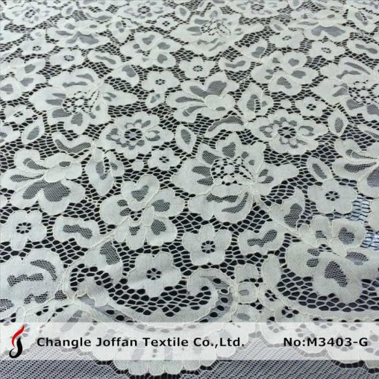 Wholesale Ivory Scalloped Lace Fabric (M3403-G) pictures & photos