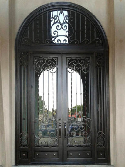 Elegant Double Front Doors Inside Elegant Luxury Design Iron Double Entry Doors With Transom China