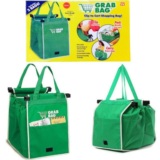 Large Trolley Clip-to-Cart Grab Bags Portable Green Cloth Shopping Bag Foldable Tote Handbags