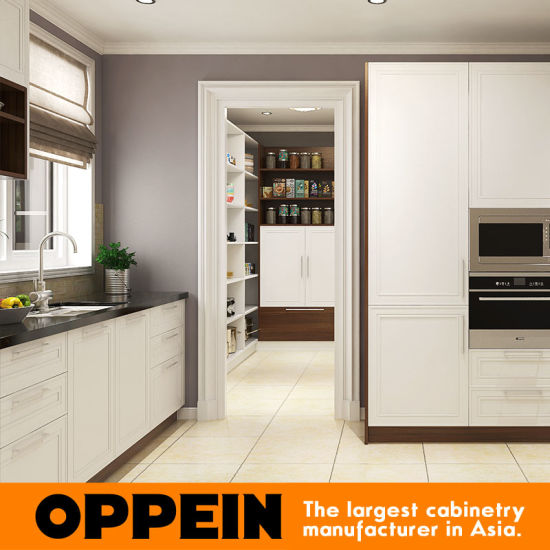 Oppein Modern Design Lacquer Wood Modular L Shaped Kitchen Cabinets pictures & photos