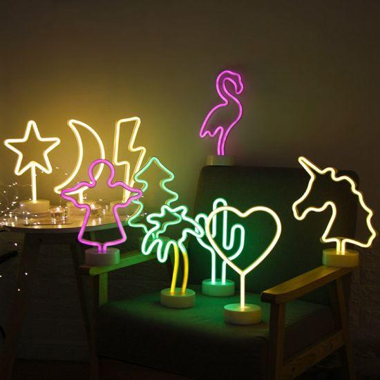 New Design LED 3D Motif Night Light Flamingo Unicorn Angel Shaped Christmas Motif Light